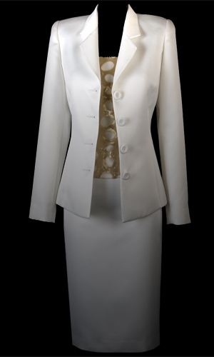 Vicky Mar Braided Satin Classic Tailored Jacket - White