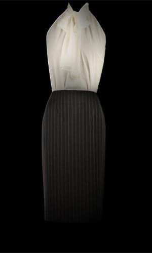 Vicky Mar Chiffon Blouse and Vicky Mar Pinstripe Skirt