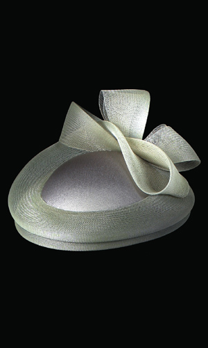 Vicky Mar Small Hat With Small Mesh Brim And Bow - Mild Green