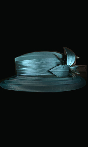Vicky Mar Hat With Bow And Small Feather - Teal Blue