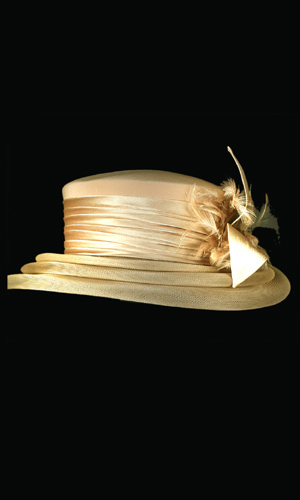 Vicky Mar Hat With Bow And Small Feather - Gold