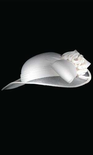 Vicky Mar Hat With Satin Bow - White
