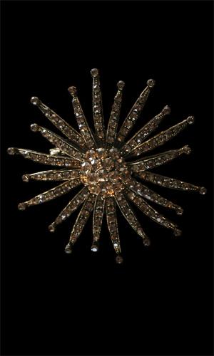Swarovski Stones Sunflower Brooch - Gold