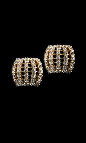 SWAROVSKI DIAMONTE CLIP ON EARINGS - Gold