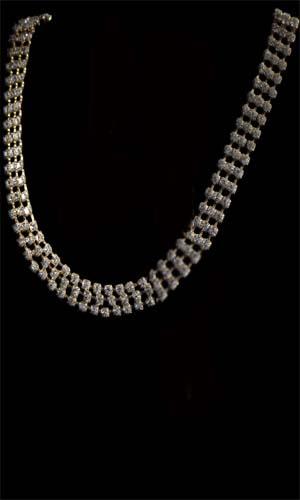 Swarovski Diamante 3 Rows Long Necklace - Gold