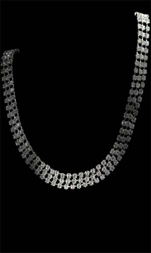 Swarovski Diamante 3 Rows Long Necklace - Silver