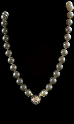 Pearl Necklace With Swarovski Diamante Ball Clip Feature