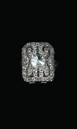 Swarovski Crystals Square Diamonte Ring