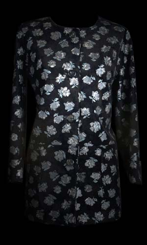 Top Quality Round Neck Leather Jacket -  Black Floral