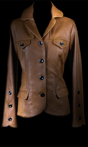 Luxuriously Soft Leather Jacket- Black Buttons - Tan