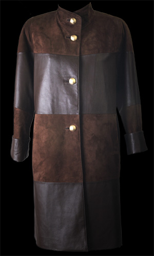 Vicky Mar Luxurious Soft Suede Coat with Leather Insert - Brown