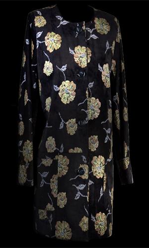 Luxurious Fine Italian Suede Black Floral Print Jacket