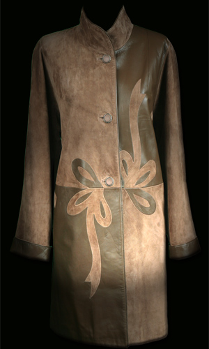Premium Quality Leather and Suede 3/4 Coat with Flower Design Feature - Camel