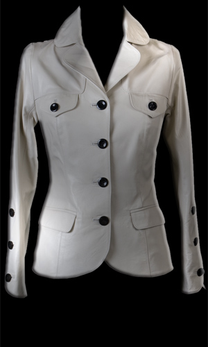 Luxuriously Soft Leather Jacket- Black Buttons - White