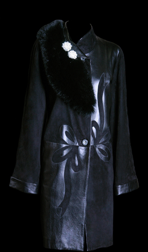 Premium Quality Leather and Suede 3/4 Coat with Flower Design Feature - Black