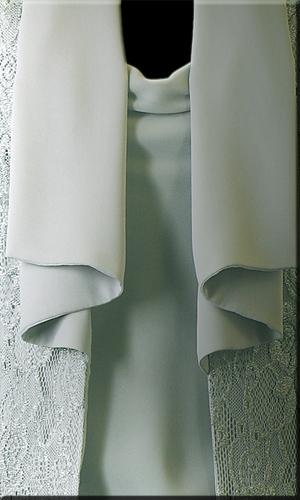 Cowl Neck Double Chiffon Short Sleeve Top With Swarovski Stones - Mild Green