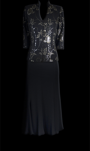 Vicky Mar Black And Gold Beaded French Lace Top With Double Chiffon Rainfall Skirt - Black