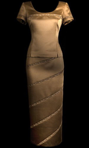 Embroided Genoa Top And Diagonal Embroided Skirt - Brown