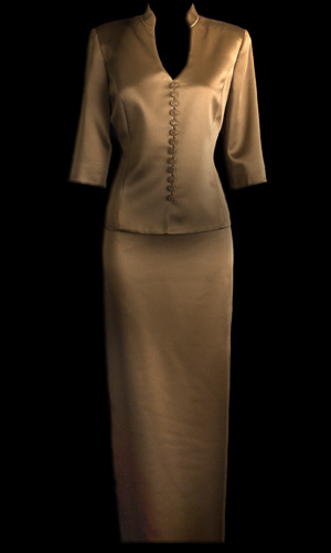 Shiny Satin 3/4 Sleeve Chinese Top - Brown