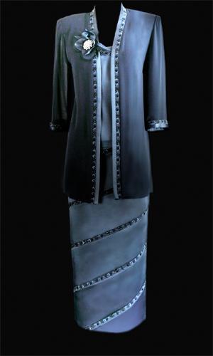 Vicky Mar Chiffon Loose Jacket with Embroidered Satin Trim Featuring Swarovski Stones - Petrol Blue