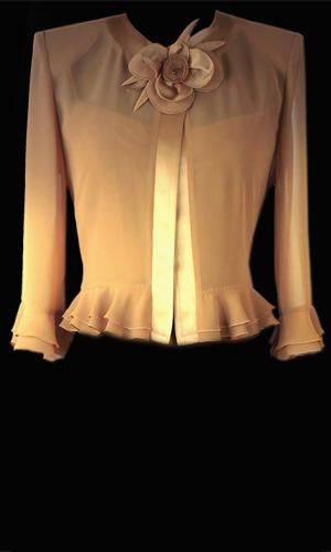 Vicky Mar Chiffon Bollero Jacket With Frill And Genoa Satin Trim And Frill Cuffs - Gold