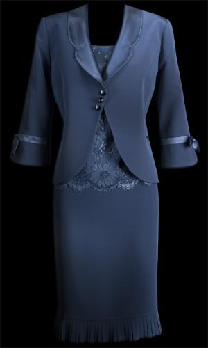 Mattside Small Pleat Hem Skirt and Bow on Sleeve Jacket - Petrol Blue