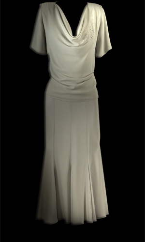 Cowl Neck Double Chiffon Short Sleeve Top With Swarovski Stones And Vicky Mar 12 Panel Chiffon Skirt