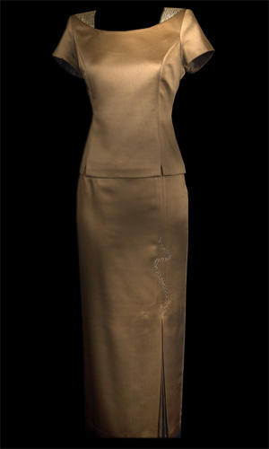 Diamonte On Shoulder Top And Snake Emroidery Skirt - Brown