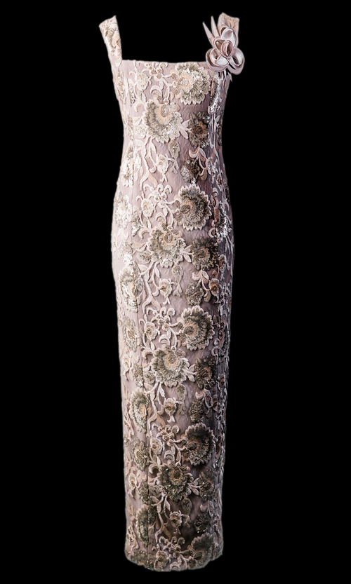 Vicky Mar Lace Flower Sequence Long Dress