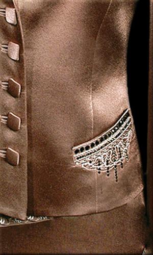 Genoa Satin Jacket With Embroidery And Swarovski Stones - Mocha