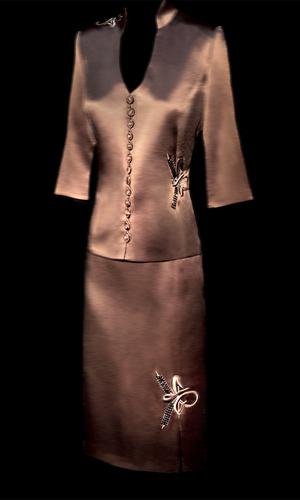 Genoa Embroided Flower Skirt - Mocha