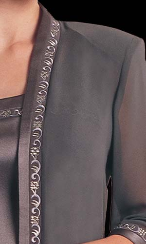 Vicky Mar Chiffon Loose Jacket With Embroidered Satin Trim Featuring Swarovski Stones - black cream