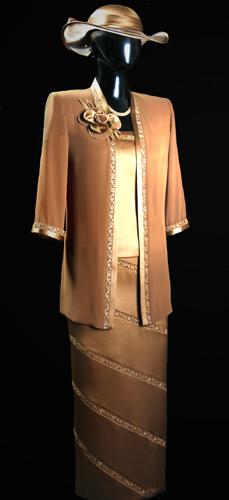 Vicky Mar Chiffon Loose Jacket With Embroidered Satin Trim Featuring Swarovski Stones - Brown