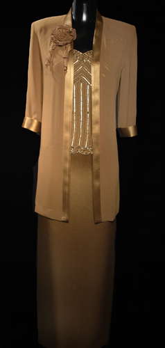 V Front Sequence Top Loose Chiffon Jacket With Long Shiny Genoa Satin Skirt