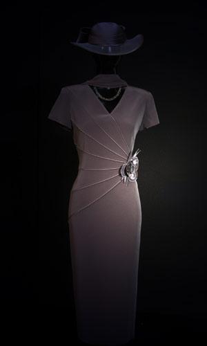 Vicky Mar Satin Pipping Short Sleeve Dress - black cream