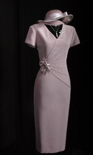 Vicky Mar Genoa Satin Short Sleeve Piping Dress