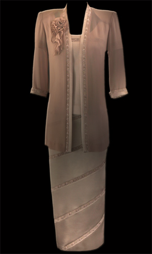 Vicky Mar Chiffon Loose Jacket with Embroidered Satin Trim Featuring Swarovski Stones - Oyster Pink